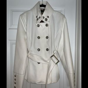 Black Rivet White Military Style Peacoat